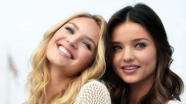 Smiling Miranda Kerr N Candice Swanepoel At Victoria's Secret SWIM Collection